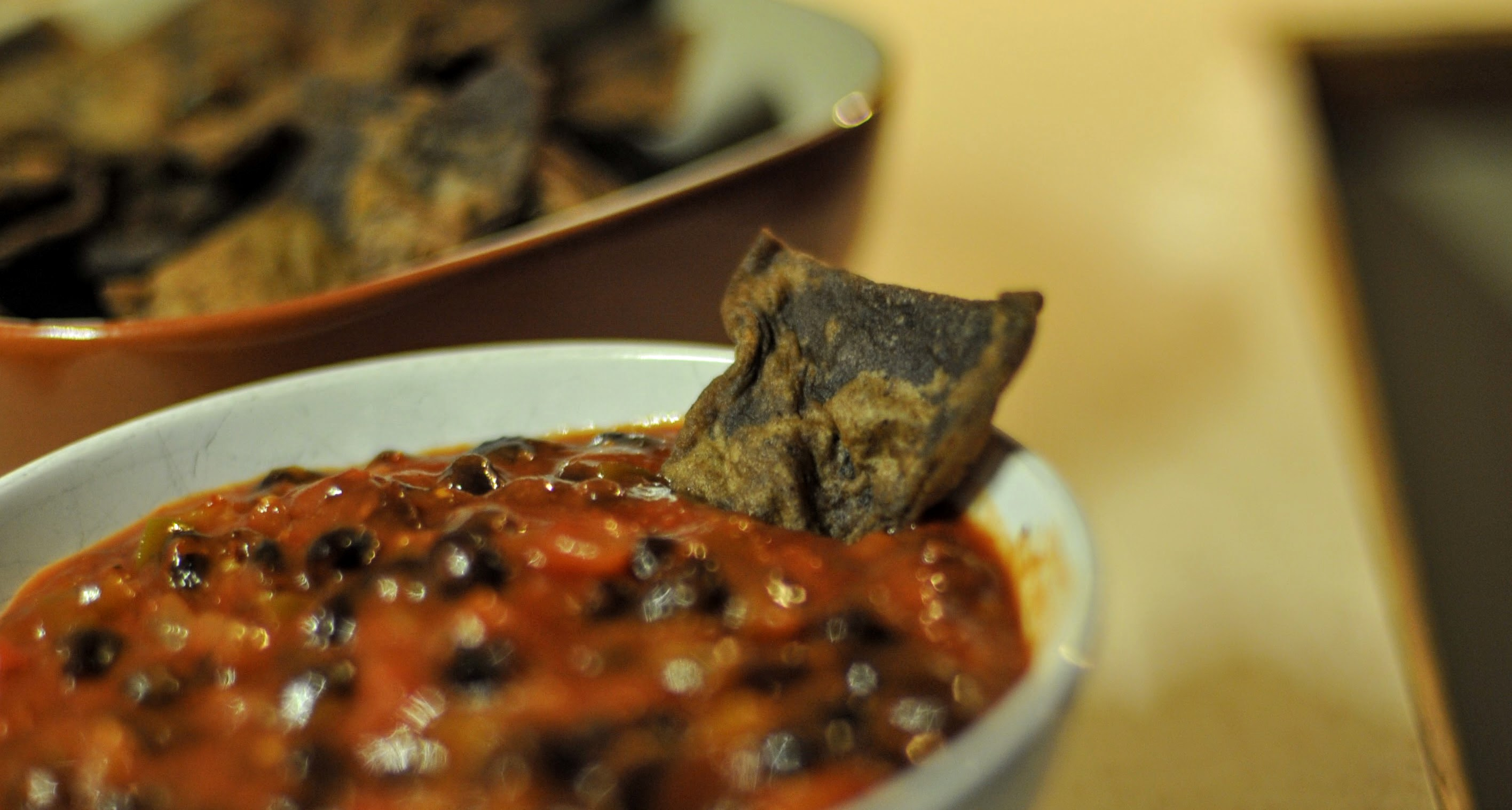 Black bean and chick pea tortilla chips