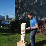Playing Outdoor Oversized Jenga at Waist Height