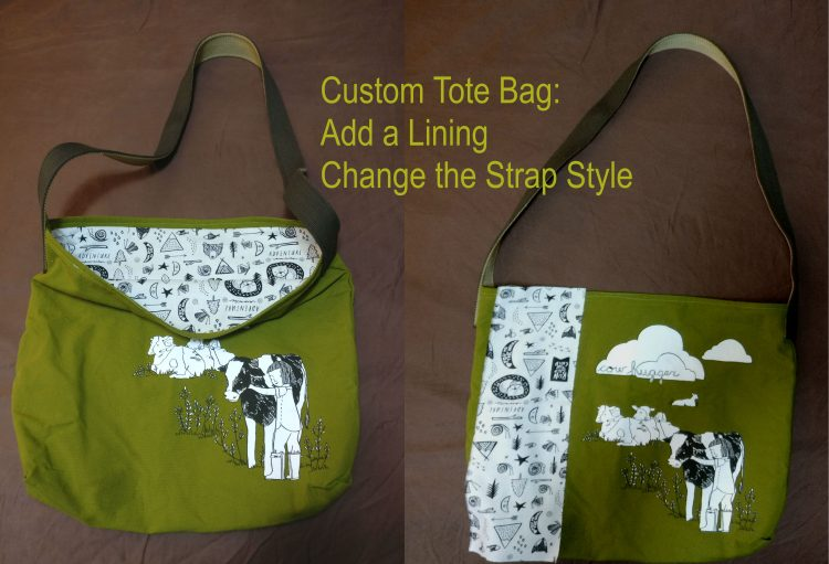 "Herbivore ""Cow Hugger"" tote bag with adventure lining"